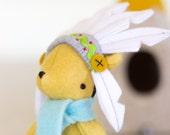 PDF Pattern - 'Teepee Ted' - Felt Bear Softie, felt teepee, chief headdress, pirate hat - Instant Digital Download- Plush Toy