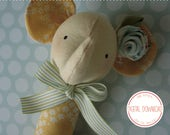 PDF Pattern - 'Snorkel' - Linen and fabric elephant baby rattle  - Instant Digital Download - Plush Children's Toy