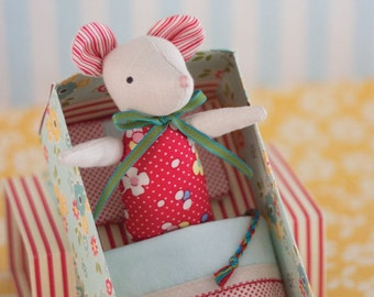 PDF Pattern - 'Mouse in a Matchbox' - Linen Mouse Softie in a Paper Matchbox Bed  - Instant Digital Download - Plush Children's Toy