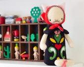 PDF Pattern - 'Mishka' - 100% Wool Felt Babushka Style Cat Toy - Instant Digital Download - Children Sewing Pattern