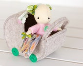 PDF Pattern - 'Dormouse' - Felt Mouse Softie, felt pram, knitted wool blanket - Instant Digital Download- Plush Children's Toy