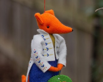 PDF Pattern - 'Teasel' - Hanging Felt Fox Ornament with embroidered jacket and wreath - Instant Digital Download - Christmas Decoration