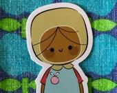 Sticker Die Cut Sticker Laptop Stationary Journal Sketchbook School Books Cute Kids Girl Character by Simone Gooding