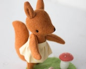 PDF Pattern - 'Evie' - 20%OFF*- Felt Squirrel Softie with Felt Leaf and Toadstool  - Instant Digital Download - Plush Children's Toy