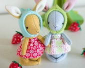 PDF Pattern - 'Rhubarb'  - Felt Rabbit Softies  - Instant Digital Download - Plush Bunny Children's Toy - Easter Gift Idea