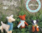 PDF Pattern - 'Hill Top Fox - Pattern One' - Felt Badger, Deer and Fox Softie - Instant Digital Download - Plush Children's Toy