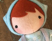 PDF Pattern - 'Olga and Crumpet' -  Felt Doll softie with pet Pig softie - Instant Digital Download- Plush Children's Toy