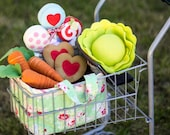 PDF Pattern - 'To Market To Market' - Felt Vegetables and Groceries Softie Playset  - Instant Digital Download - Plush Children's Playset