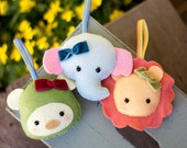 PDF Pattern - 'Animal Crackers'  - Felt Animal Softie Hanging Ornament  - Instant Digital Download - Plush Children's Toy