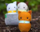 PDF Pattern - 'Three Little Kittens' - Felt Kittens Softie with Felt Basket Bed  - Instant Digital Download - Plush Children's Toy