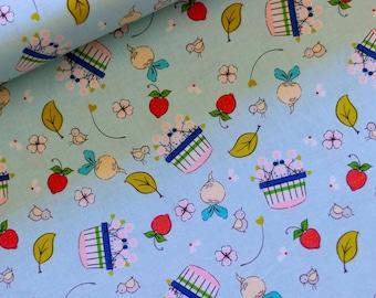 Riley Blake Fabric - Hubert and Sorrel Harvest Basket Aqua  -  Simone Gooding - 50cm Quilting Fabric (half yard)  Piggy