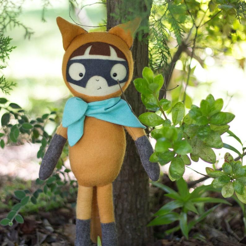 PDF Pattern  'Bandit'    Felt Fox Boy Softie Doll  image 1