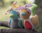 PDF Pattern -  'Hetty and Betty'  - Felt Birds Softie - Instant Digital Download - Plush Children's Toy