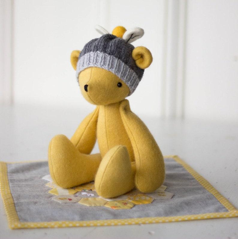 PDF Pattern  'Bumble'  Felt Bear Softie with image 1