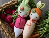 PDF Pattern - 'Sprouts' - Carrot and Radish Softie Dolls  - Instant Digital Download - Plush Children's Toy