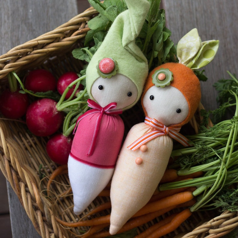 PDF Pattern  'Sprouts'  Carrot and Radish Softie image 0