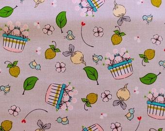 Riley Blake Fabric - Hubert and Sorrel Harvest Basket Grey  -  Simone Gooding - 50cm Quilting Fabric (half yard)  Piggy