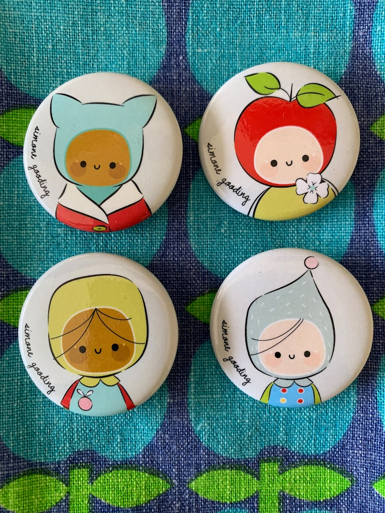 Badges Pins Brooch Button Cute Characters Children Clips image 0