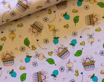 Riley Blake Fabric - Hubert and Sorrel Harvest Basket White  -  Simone Gooding - 50cm Quilting Fabric (half yard)  Piggy