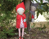 PDF Pattern - 'Red and Little Wolf'  - Felt and Linen Doll Softies  - Instant Digital Download - Plush Children's Toy
