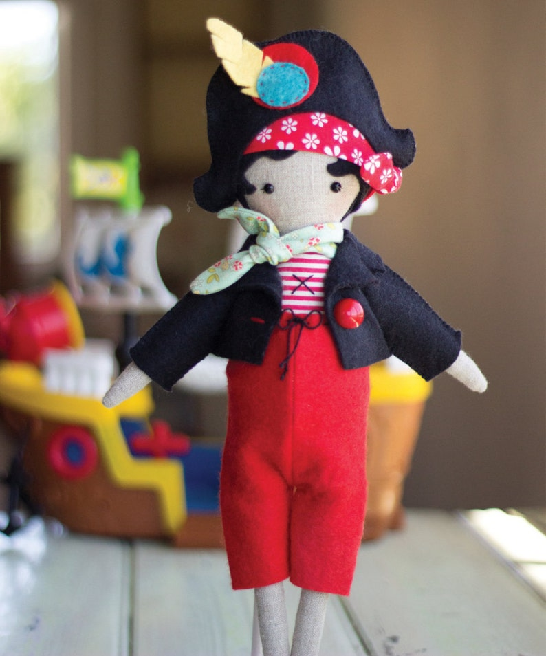 PDF Pattern  'Clementine'   Linen Pirate Doll Softie image 0