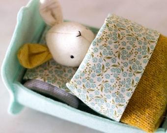 PDF Pattern - 'Rest Little Rabbit'  - Felt Rabbit Softie, felt bed, fabric bedding - Instant Digital Download- Plush Child's Toy