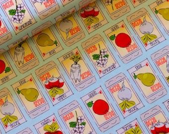 Riley Blake Fabric - Hubert and Sorrel Seed Packets Aqua  -  Simone Gooding - 50cm Quilting Fabric (half yard)  Piggy