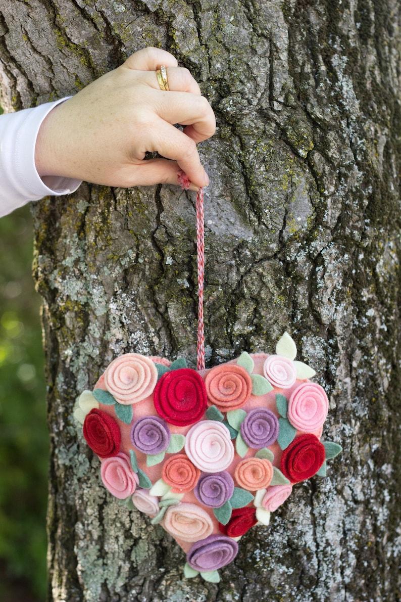 Ready Made Felt Heart Decoration with Felt Roses image 0