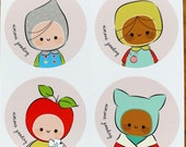 Sticker Round Circle Laptop Stationary Journal Sketchbook School Books Cute Kids Set of Four by Simone Gooding