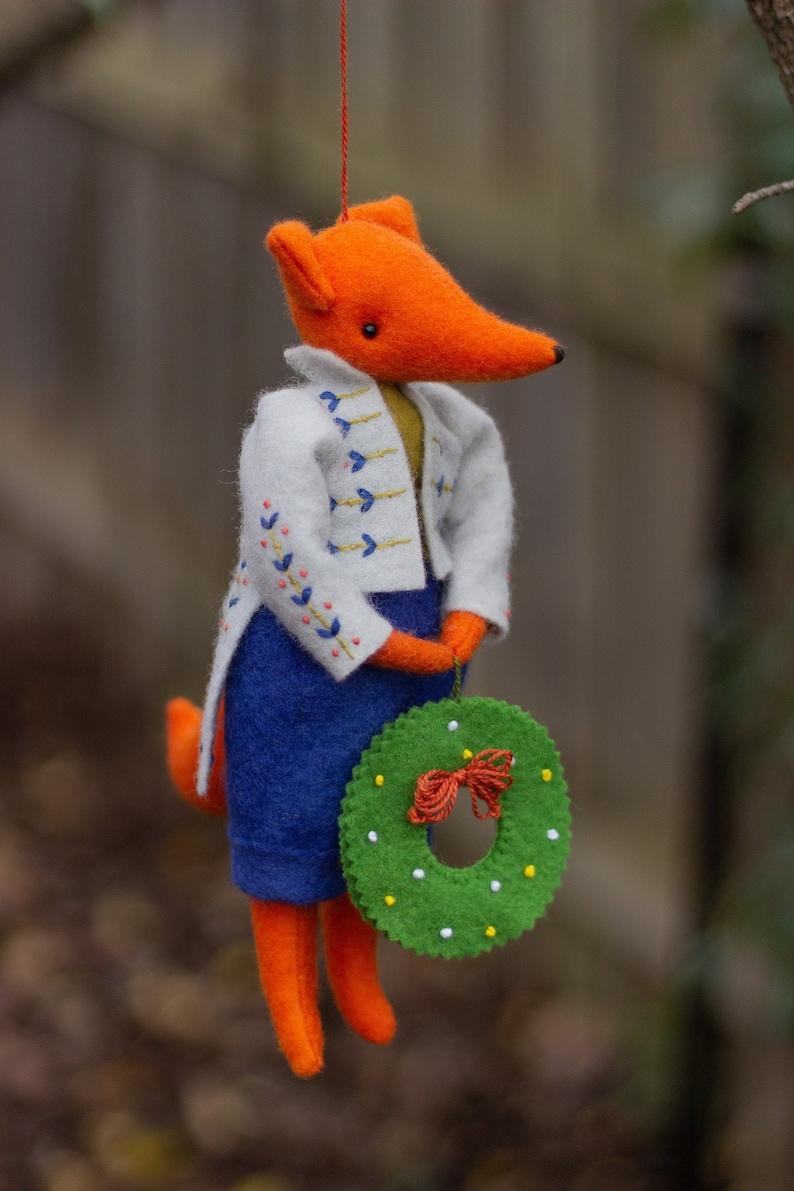 PDF Pattern  'Teasel'  Hanging Felt Fox Ornament image 0