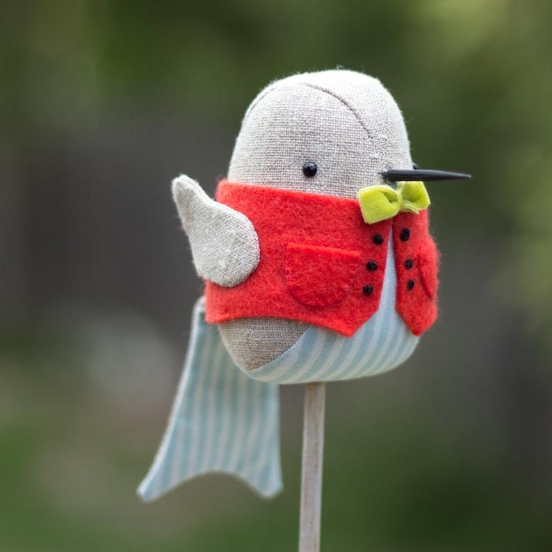 PDF Pattern  'Little Robin Red Vest'   Linen Robin image 0