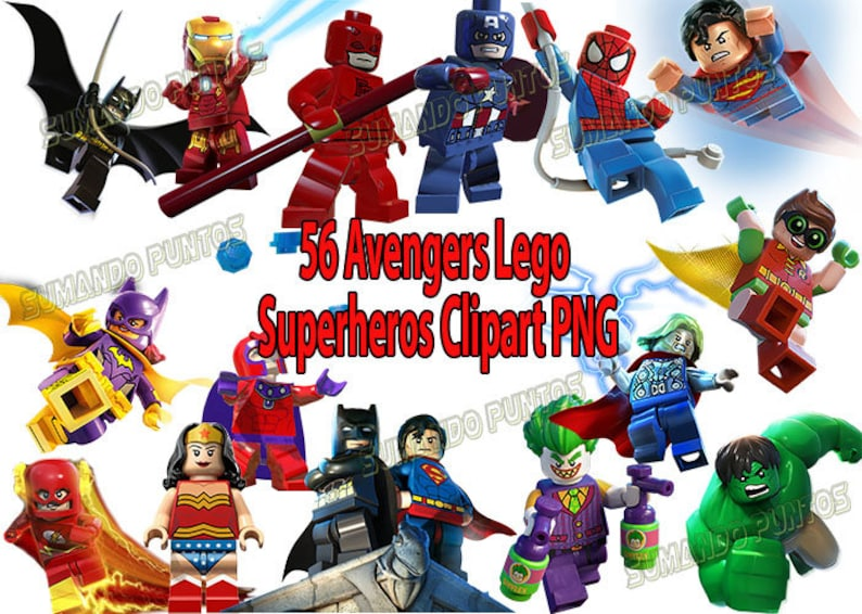 3e0adf93f5 Decorazione di Lego Avengers Clipart PNG Superman Batman Flash | Etsy