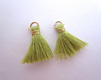 Set of 2 mini green tassel