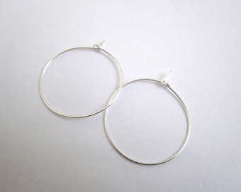 Set of 2 brackets hoops 30mm silver plated brass