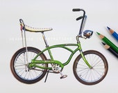 Schwinn Sting Ray Vintage Bike Green Retro Bicycle Art Print from an Original by Headspace Illustrations