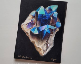 ORIGINAL Purple Phantom Crystal Quartz Stone with Gold Drawing Colored Pencil Art by Headspace Illustrations on Black