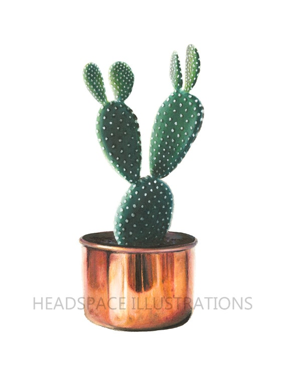 Cactus with copper cacti planter pot green houseplant colored etsy - Kaktus zimmerpflanze ...