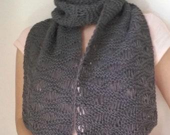 handmade knitted winter scarf grey