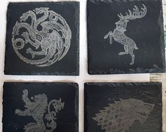 Set of four Game of Thrones themed slate etched coasters