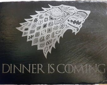 "Game of Thrones themed ""Dinner is Coming"" Stark slate placemat"