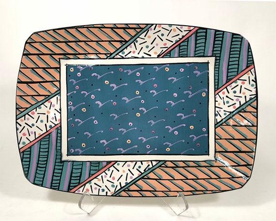 handmade porcelain signed dated Memphis Era Dorothy Hafner 8 square plate Post-Modern design Mid-Century Modern