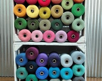 48 colors!!! 1/2 pound spools, Cotton Yarn, 8/4 Cotton Warp, Quantity Discounts!!!  at Ability Weavers