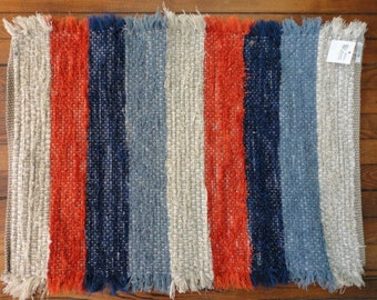 Burnt Orange, Blue and sliver grey Fuzzy Rug by Ability Weavers 22x33 inches F659