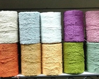 Bamboo Boucle Yarn, 100% Bamboo, half pound spools by Maurice Brassard -  21 colors, in stock, to choose from.  Ships fast