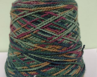 """1.6 lb Cotton Mock Chenille Yarn,  """"Forest"""" variegated on cone,  1050 yards per pound"""