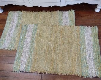 Handwoven Lemon and Lime rugs by Ability Weavers  25x40 inches F1722 & F1723