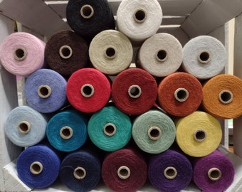 Cottolin Yarn, 8/2 Cotton Linen weaving yarn by Maurice Brassard, half pound spools  -  22 colors, in stock, to choose from.  Ships fast