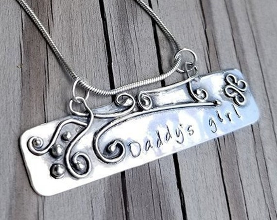 Daughter's Pendant, Sterling silver, handmade, butterfly & swirls
