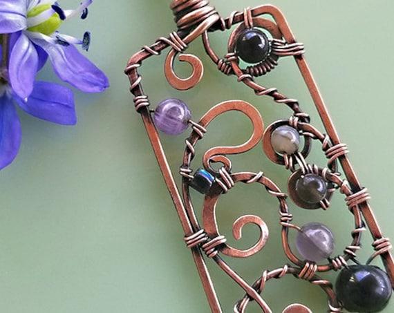 Swirl of Gems Pendant, Copper, wirewrap, gemstone, amethyst, black onyx
