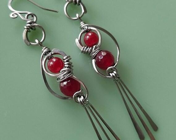 Red Jade Dangle Earrings